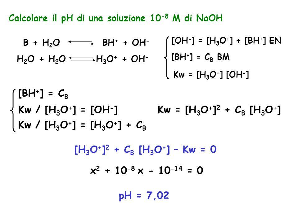 [BH+] = CB Kw / [H3O+] = [OH-] Kw = [H3O+]2 + CB [H3O+]